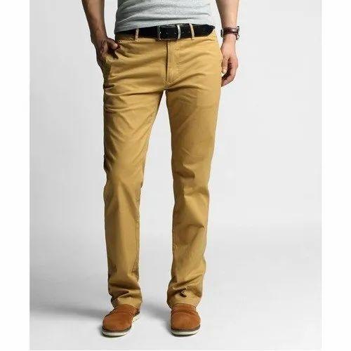 Cotton Plain Mens Chino Trousers