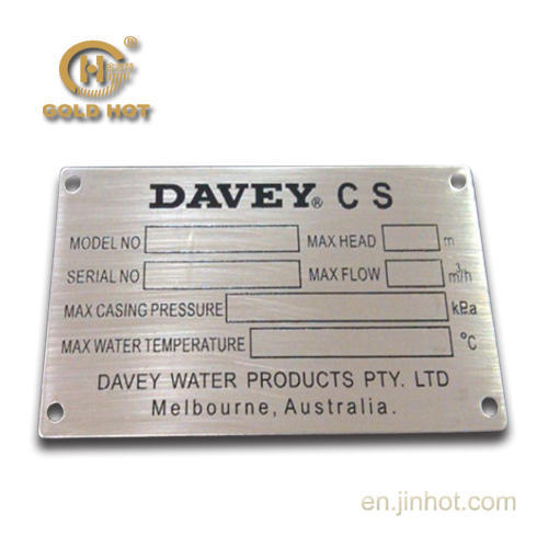 View Specifications Details: Aluminium Machine Name Plate