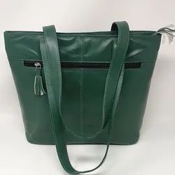 Green Leather Ladies Side Bag