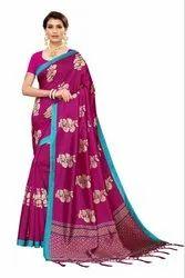 Banarasi Art Silk Party Wear Wine Saree Blouse Piece