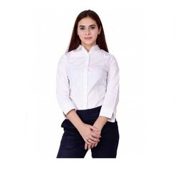 UB-SH-05 White 3/4th Sleeve Shirt For Women
