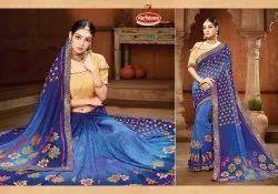 Printed Vichitra Saree - Choice Me