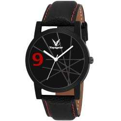 Black Leather Mens Wrist Watch