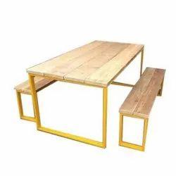 Rectangular Wooden Canteen Table, Seating Capacity: 4