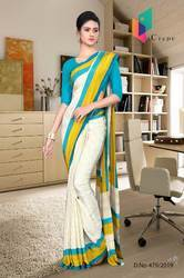 Italian Crape Silk Uniform Saree for Office Staff & Teachers
