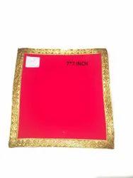 Anil Novelty Red Velvet Prayer Rugs, For Pooja, Size: 7*7 Inch