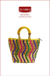 RED And BLUE EMBROIDERED GIFT BAG.THAMBOOLAM GIFT BAG, Size/Dimension: L 10* B 3.5* H 7.5