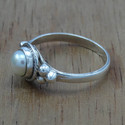 925 Sterling Silver Pearl Gemstone Ring