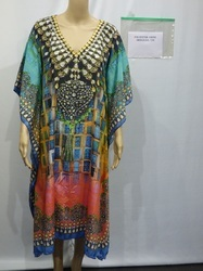 V- Shape Neck Digital Printed Kaftan