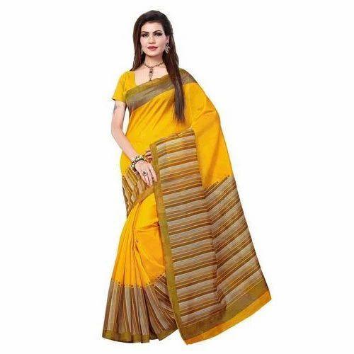 afd9ea80c48 Yellow Party Wear Printed Cotton Silk Saree