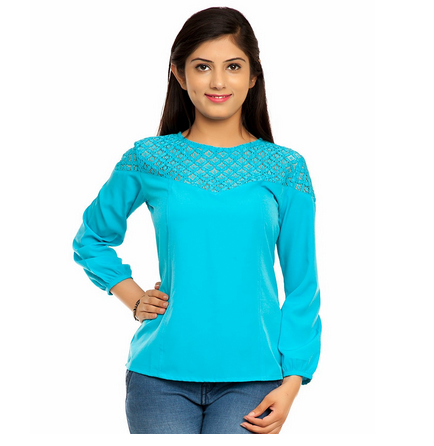 2f6fcfdfc82d4f Femninora Turquoise Blue Color Lace Top, Rs 999 /piece, Instra Group ...
