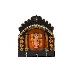 Wooden Mehrab Ganesha 3 Key Holder