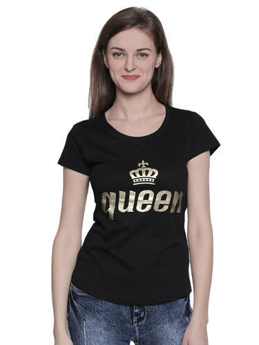 Women  s Cotton Black Colour Half Sleeve T-Shirt e66862a12