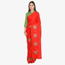 Red Colored  Poly Silk Casual saree