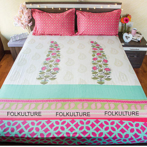 Fl Printed Bed Sheets Pink Design Cotton Sheet For Double