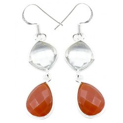 Cornolian With Cristal 925 Sterling Silver Finished Earrings