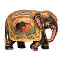 Handicrafts Wooden Antique Finish Gold Leaf Painted Elephant For Decoration, Size: 6 Inch