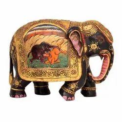 手工艺品木制古董饰面金叶彩绘大象装饰,大小:6英寸