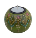 Wooden Painted Candle Holder