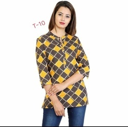 Rayon 3/4th Sleeve Printed Top for Girls