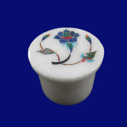 White Marble Inlay Handmade Floral Art Design Box