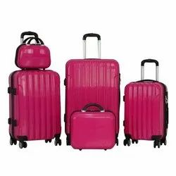 Plain Pink 5 Piece Travel Trolley Bag Set