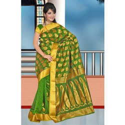 Party Wear Printed Ladies Banarasi Silk Saree, 6.3 m (with blouse piece)