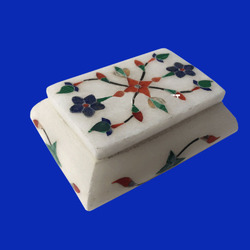 White Onyx Inlaid Decorative Box Finest
