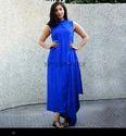 Woman Royal Blue Draped Dress