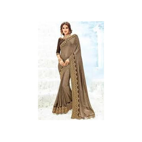 e8027aa654 Ladies Embroidery Chocolate Color Party Wear Saree