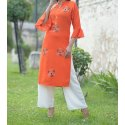 3/4th Sleeve Ladies Trendy Printed Rayon Kurti, Handwash