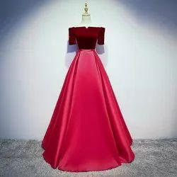 Velvet Blouse and Satin Skirt Red Women's Western Designer Wear