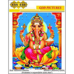 Ceramic Polished Ganeshji 3D God Picture Wall Tile, Size: 600mmx1200mm and 300mmx600mm