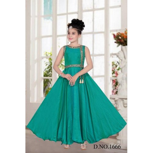 262d48d4941c43 Satin Plain Kids Girl Sea Green Designer Gown, Size: 34, Rs 1000 ...