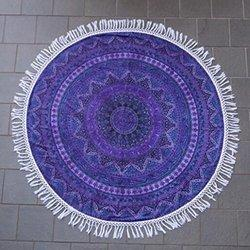 Blue Round Beach Throw Tapestry