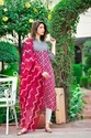 3/4th Sleeve Linen Printed Kurtis With Dupatta Sets