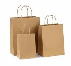 Brown Printed Craft Paper Bags for Shopping, Capacity: 1kg