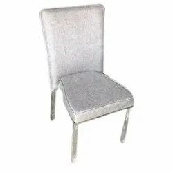 Grey Leather And Mild Steel Dining chair, For Home
