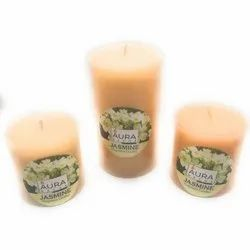 AuraDecor Jasmine Pillar Candles