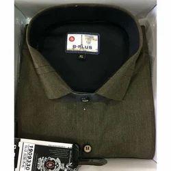 B Plus Plain Green Formal Shirt