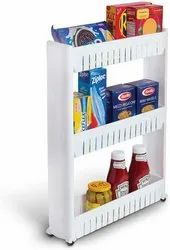 3 Layer Space Saving Storage Organizer Rack Shelf with Wheels for Kitchen Bathroom Bedroom