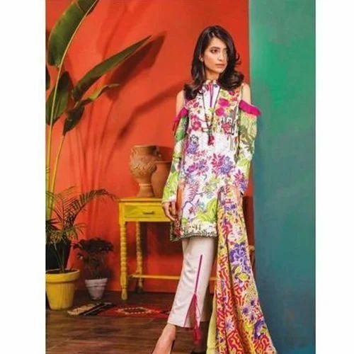 0de2b3a27f Linen Ladies Embroidered Floral Print Pakistani Suit, Rs 2550 /piece ...