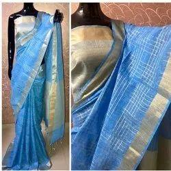 Chanderi Silk Cotton Saree, Machine Made , 6.3 M (with Blouse Piece)