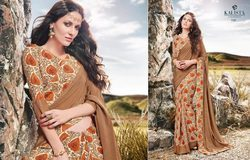 Brown Silk Crepe Printed Saree