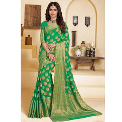 Green Designer Print Saree