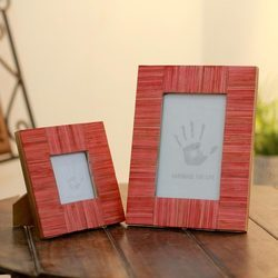 Plain Uttar Pradesh Handmade Set of 2 Indian Elm Wood Photo Frame, Size: 4x6 Inch & 3x3'' Inch