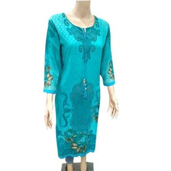 3/4th Sleeve Casual Wear Ladies Round Neck Printed Kurti