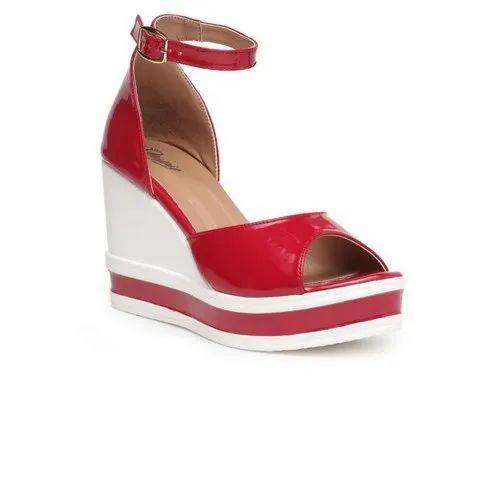 93b12feb1e3 Red Color Stylish Girls Heel Wedges