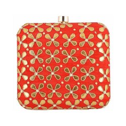 Azzra Designer Red Zardosi Work Clutch Handbag