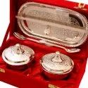 Silver Dual Lid Bowl With Tray & Spoon